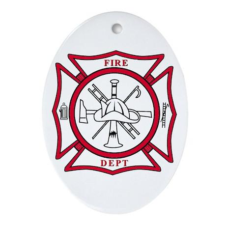 Fire Department Maltese Cross Oval Ornament