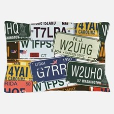 Vintage License Plates Pillow Case