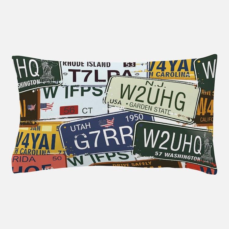 Vintage License Plates Pillow Case