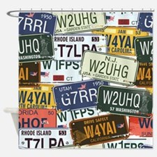 Vintage License Plates Shower Curtain