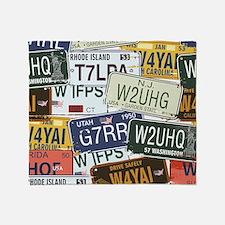 Vintage License Plates Throw Blanket