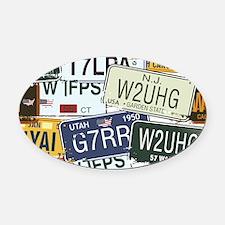 Vintage License Plates Oval Car Magnet