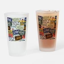 Vintage License Plates Drinking Glass