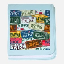 Vintage License Plates baby blanket