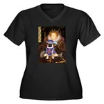 Queen-Sir Pu Women's Plus Size V-Neck Dark T-Shirt