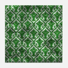 Distressed Green Fancy Pattern Tile Coaster