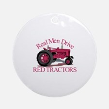 Drive Red Tractors Ornament (Round)