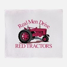 Drive Red Tractors Throw Blanket