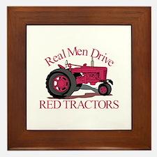 Drive Red Tractors Framed Tile