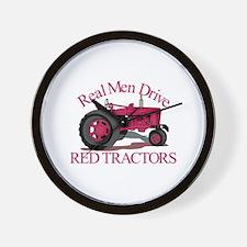Drive Red Tractors Wall Clock