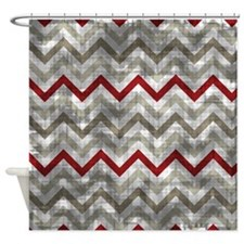 Distressed Winter Zig Zags Shower Curtain
