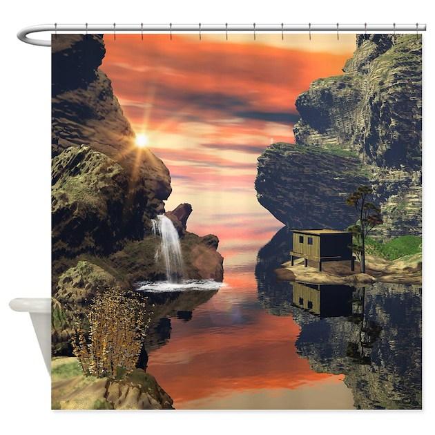 Fantasy landscape shower curtain by fantasyworld7 for Fantasy shower curtains
