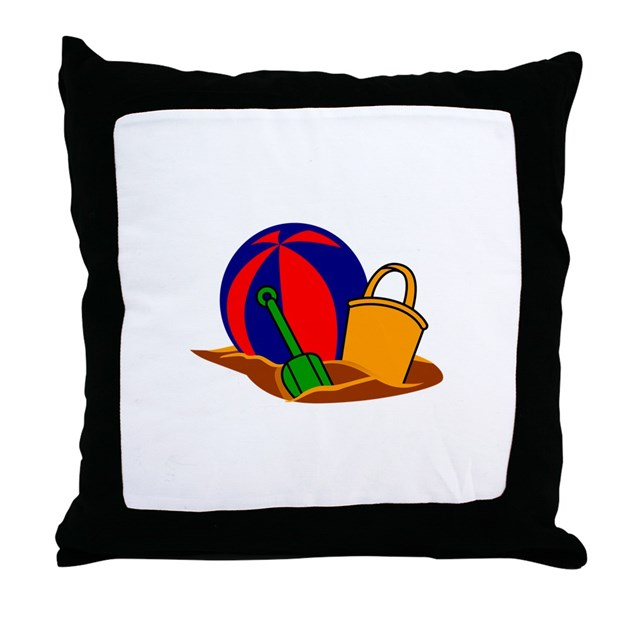 Beach Scene Throw Pillow by GrandSlamDesigns05