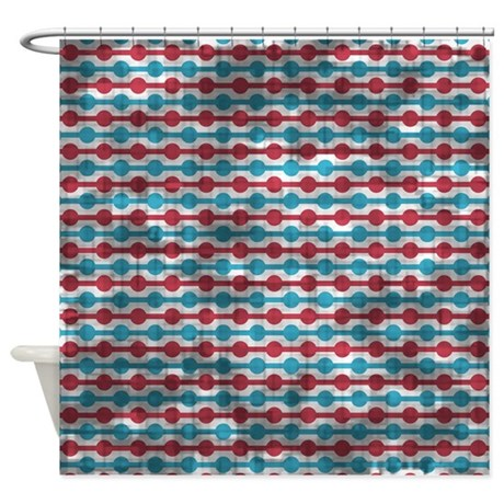 Distressed Red And Blue Beads Shower Curtain By PrintPatterns