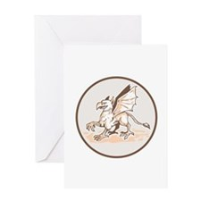 Angry Griiffin Side Circle Cartoon Greeting Cards