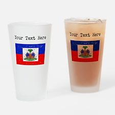Haiti Flag (Distressed) Drinking Glass
