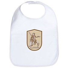 Centurion Roman Soldier Wielding Sword Cartoon Bib