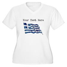 Greece Flag (Distressed) Plus Size T-Shirt