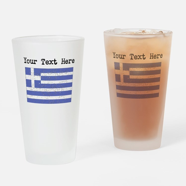 Greece Flag (Distressed) Drinking Glass