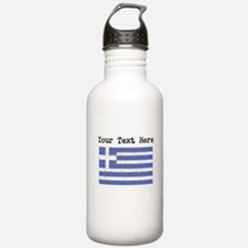Greece Flag (Distressed) Water Bottle