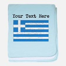 Greece Flag (Distressed) baby blanket