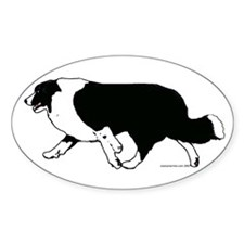 Border Collie Line Art Striding Oval Decal