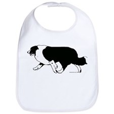 Border Collie Line Art Striding Bib