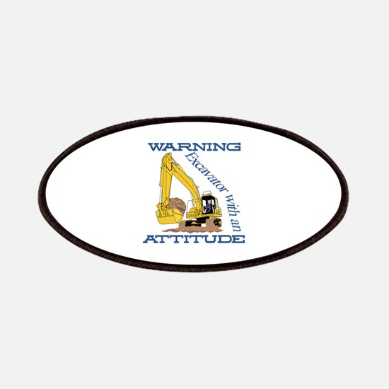 Warning Excavator With An Attitude Patch
