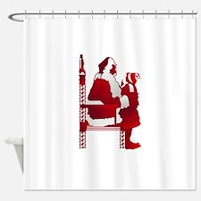Santa & Child Silhouette Shower Curtain