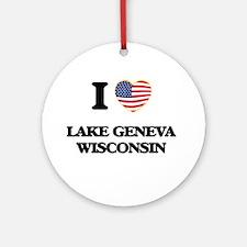 I love Lake Geneva Wisconsin Ornament (Round)