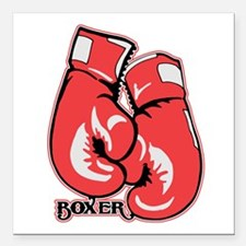 "Boxing Gloves Square Car Magnet 3"" x 3"""