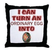 Ordinary Egg into Pysanka Throw Pillow
