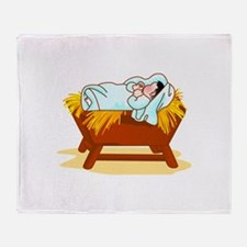 Baby in Manger Throw Blanket