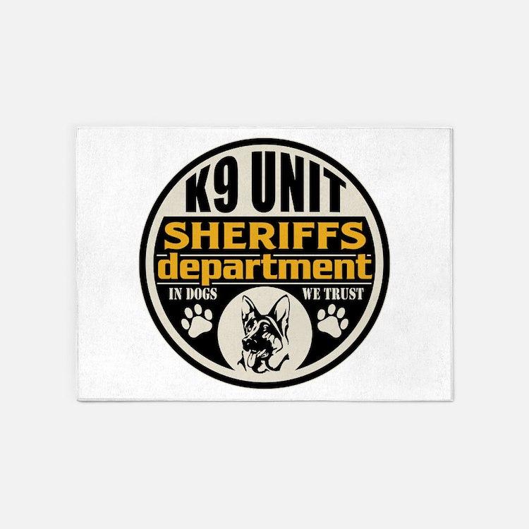 K9 In Dogs We Trust Sheriffs Depart 5'x7'Area Rug