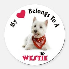 My Heart Belongs To A Westie Round Car Magnet