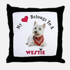 My Heart Belongs To A Westie Throw Pillow