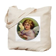 Angel on Green Background Tote Bag