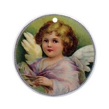 Angel on Green Background Ornament (Round)