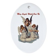 Angels Watch Over Us Oval Ornament