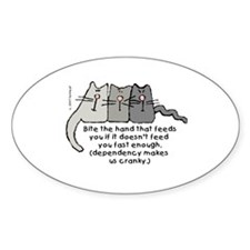 Cranky Cat Dependency Oval Decal