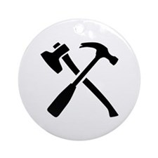 Ax hammer crossed tools Ornament (Round)
