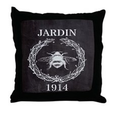 rustic french vintage bee  Throw Pillow