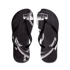 modern nautical anchor Flip Flops