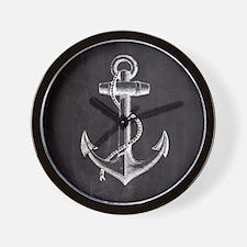 modern nautical anchor Wall Clock