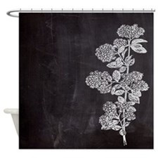 shabby chic floral chalkboard Shower Curtain