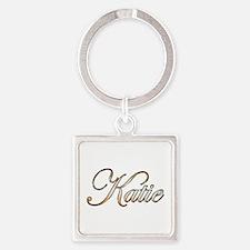 Gold Katie Square Keychain