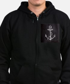modern nautical anchor Zip Hoodie (dark)