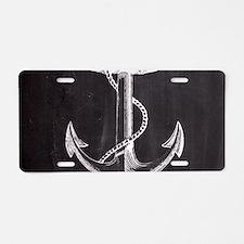 modern nautical anchor Aluminum License Plate