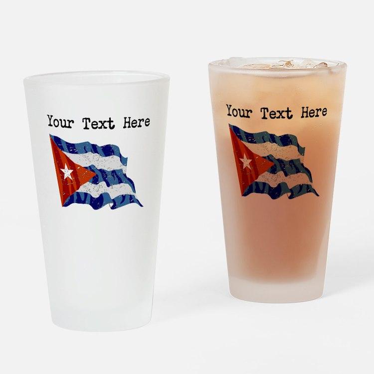 Cuba Flag (Distressed) Drinking Glass