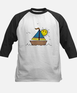 Sunny Sailboat Kids Baseball Jersey